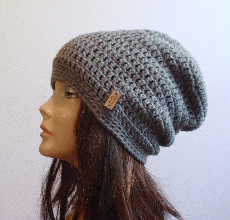 1937f1b373e Slouchy Beanie Gray Hat - Crochet Slouch Beanie Womens Grey Beanie Hipster  Hat - Gray Slouchy Beanie - Fall Apparel - Vegan Hat by KnottyMonkey on Etsy