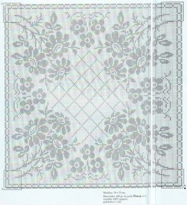Tablecloth with flowers - fillet crochet (Crochet)