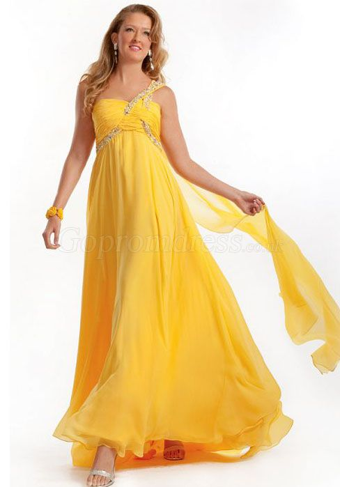 prom dress,prom dresses,prom dress,prom dresses yellow chiffon beaded one shoulder empire prom dresses
