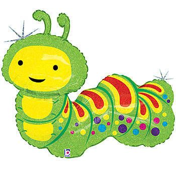 This adorable Caterpillar Holographic Foil Balloon is printed on both sides with a sparkling holographic background in green, yellow and red with polka dots.