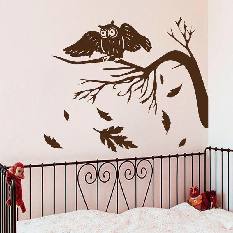 Herbst Baum Blätter Fallen Wandtattoos Eulen Nacht Vogel Wohnzimmer