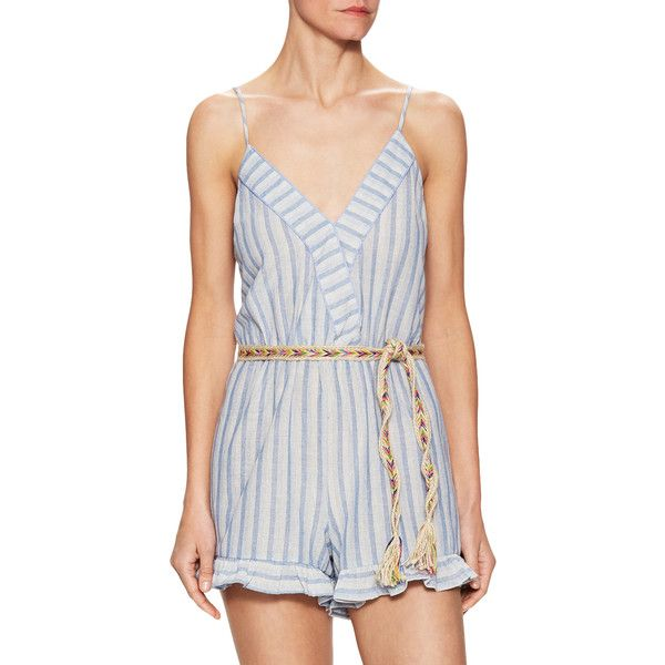 Zoe & Sam Women's Cotton Striped Tie Waist Romper - Dark Blue/Navy,... ($79) ❤ liked on Polyvore featuring jumpsuits, rompers, cutout romper, surplice romper, tie belt, navy blue rompers and playsuit romper