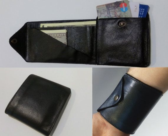 Black Leather Wallet, Trip wallet, Business Card Holder for Men, Travel Wallet, Work trip, Leather Card Case