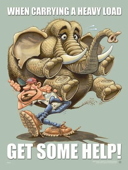 Workplace Safety Poster - When Carrying A Heavy Load, Get Some Help!