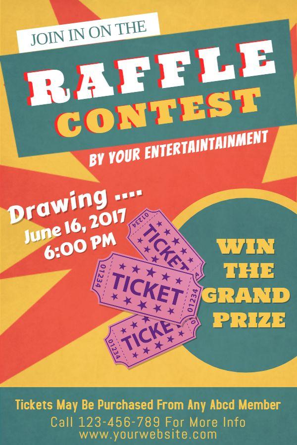 raffle flyer  poster social media post template