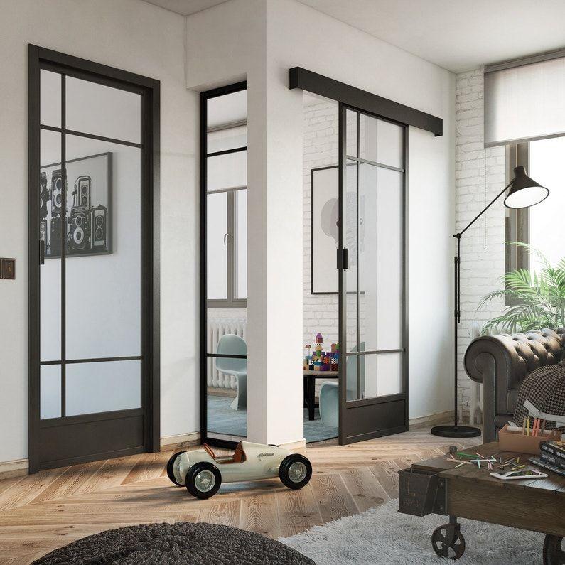 Adoptez Un Style Industriel A Votre Interieur Avec Les Porte D Atelier Leroy Merlin Binnendeuren Woonkamer Vitrage