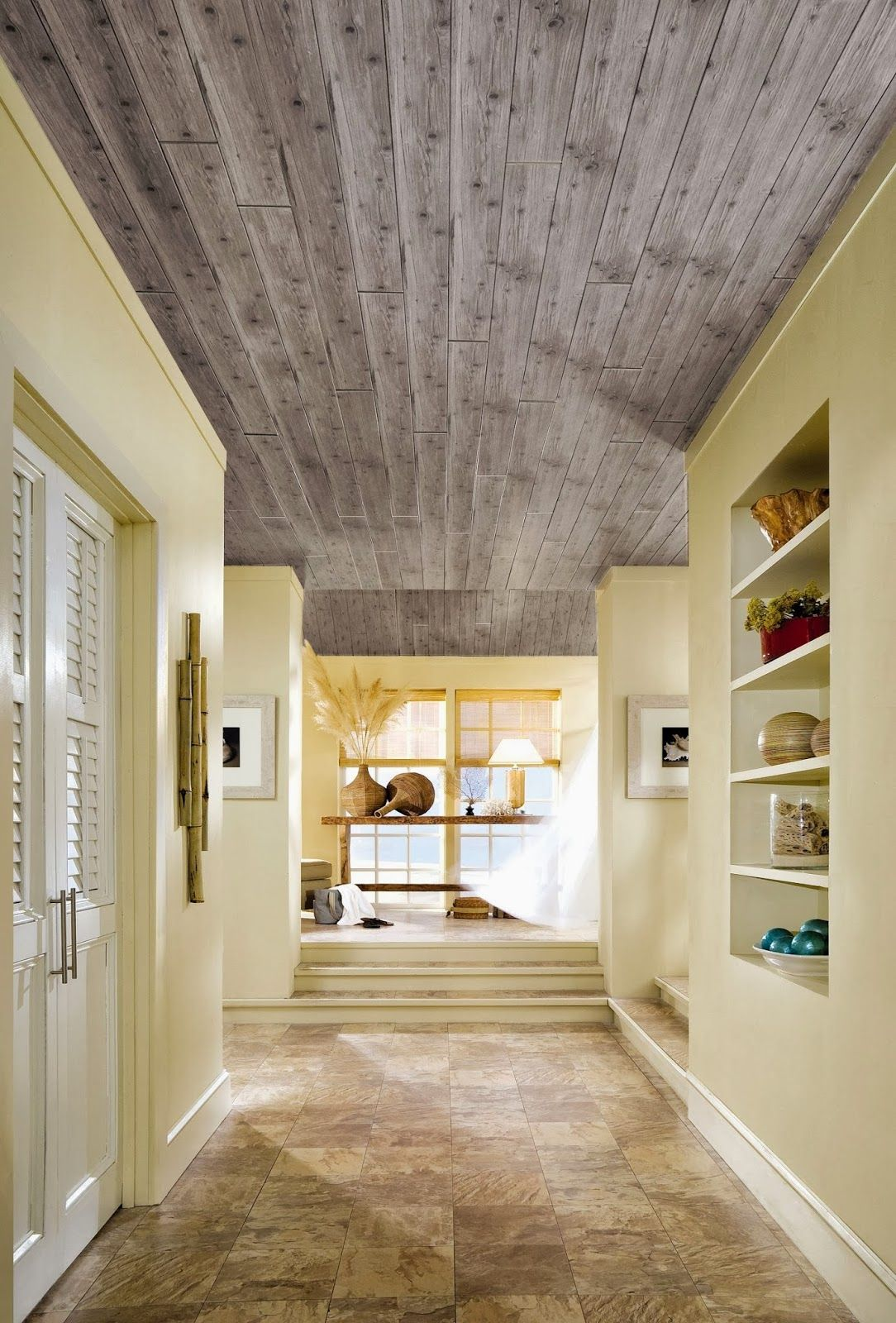 Wood ceiling hide popcorn ceilings pinterest popcorn how to hide popcorn ceilings dailygadgetfo Image collections