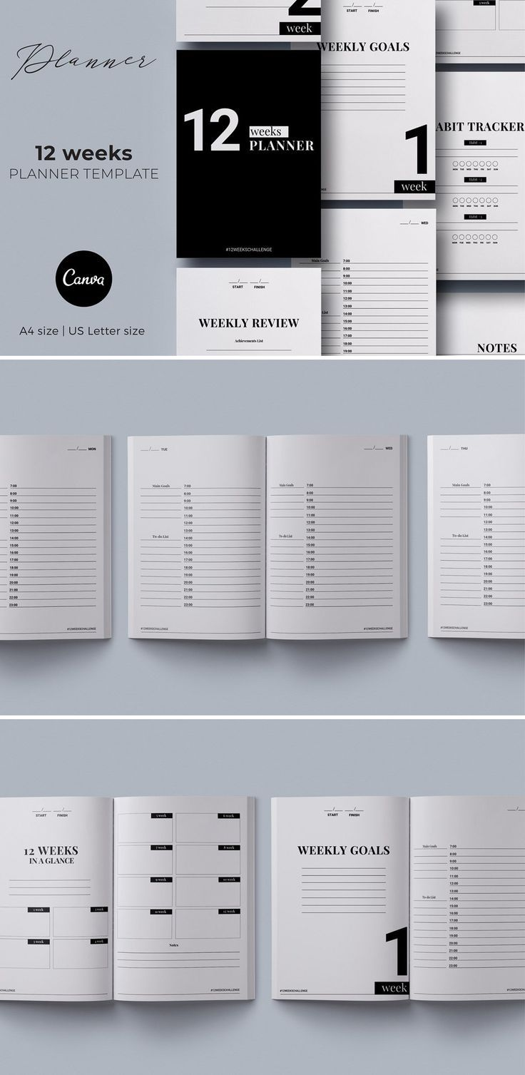 12 Weeks Planner Canva Template 12 weeks planner Canva template is perfect to help you identify your priority and manage your life Simple and effective planning system wi...
