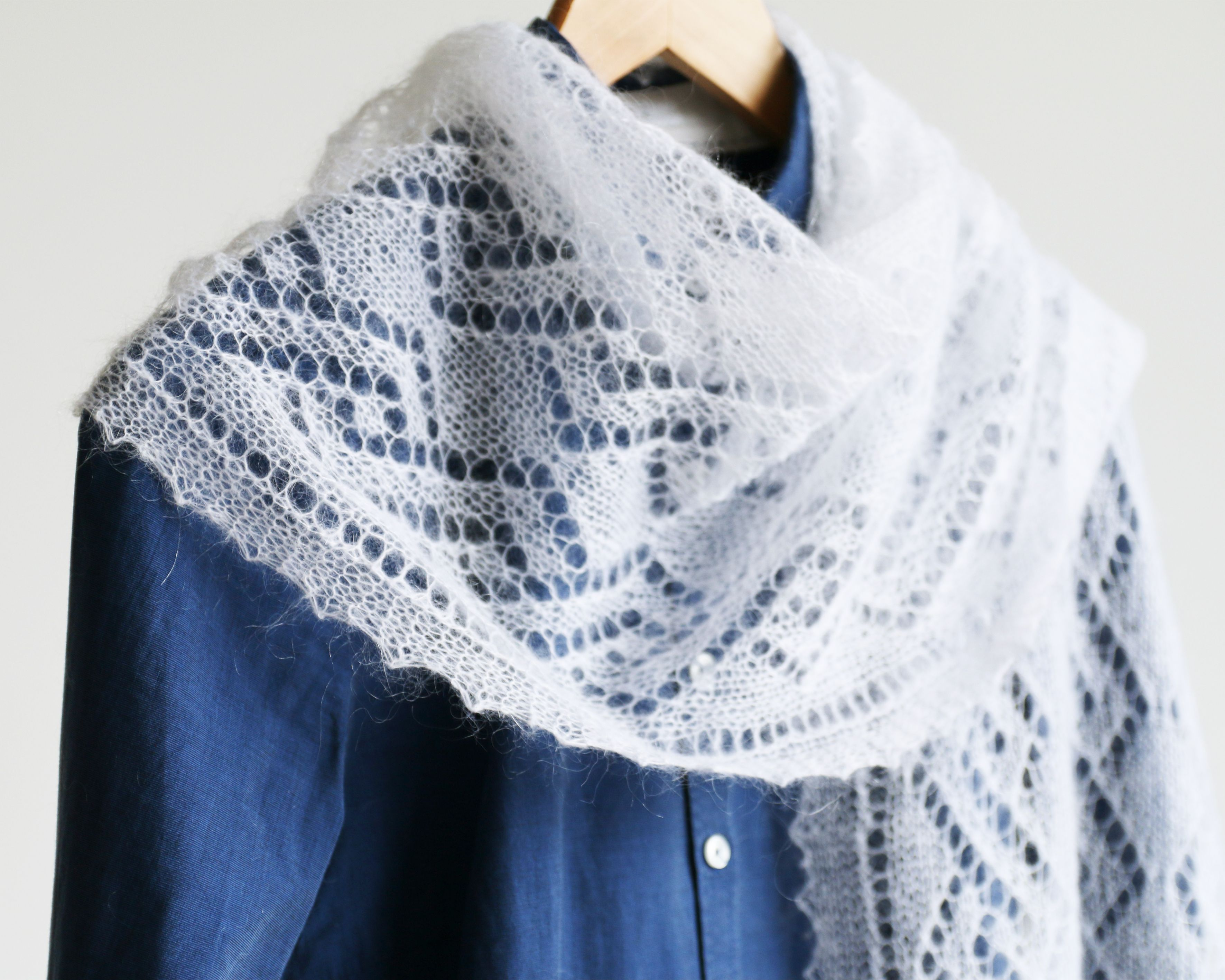 Thin Hand Knitted Lace Mohair Shawl with Twisting Pattern   Done By ...