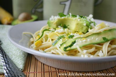Summer Squash Ribbon Pasta Salad with Sweet Corn and Avocado - This Meatless Monday recipe uses fresh summer produce for a delicious vegetarian dinner!