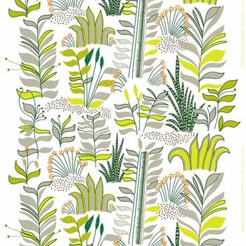 Marimekko White/Green/Orange Kauriin Kääntöpiiri Fabric - Marimekko Fabric Sale