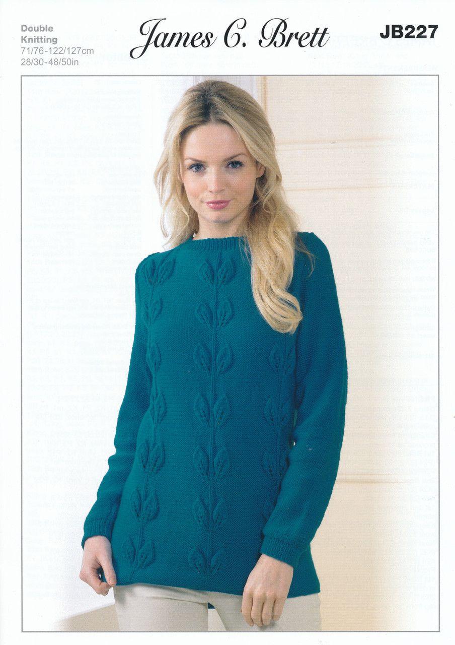 22fc6526f James Brett Double Knitting Pattern - JB277 Leaf Design Sweater ...