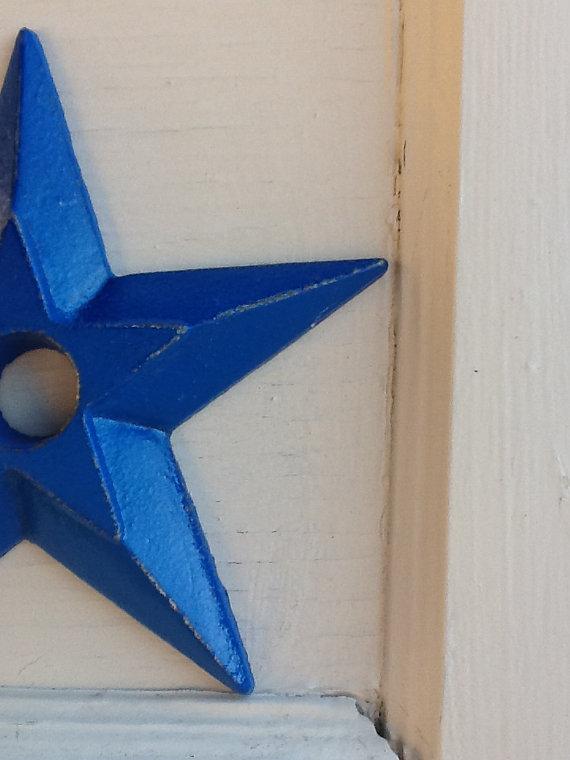 Cast Iron Star Bright Metal Home Decor Candle Stick Holder Royal Blue