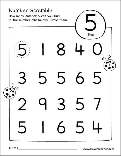 Free Printable Scramble Number Five Activity Numbers Preschool, Preschool  Math Worksheets, Number Activities Preschool