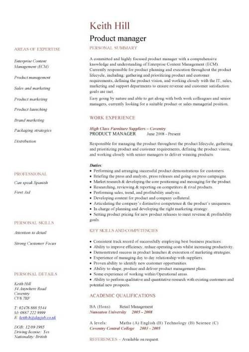 Product Manager Cv Sample In 2020 Graphic Design Resume Graphic Designer Resume Template Resume Design