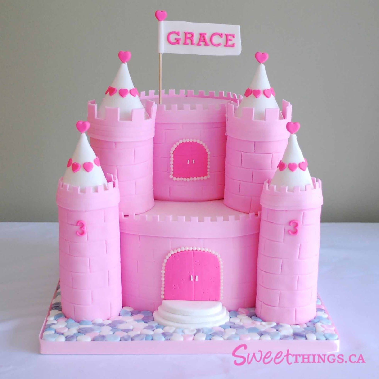 castle birthday cakes for girls 3rd Birthday Cake Pink Castle