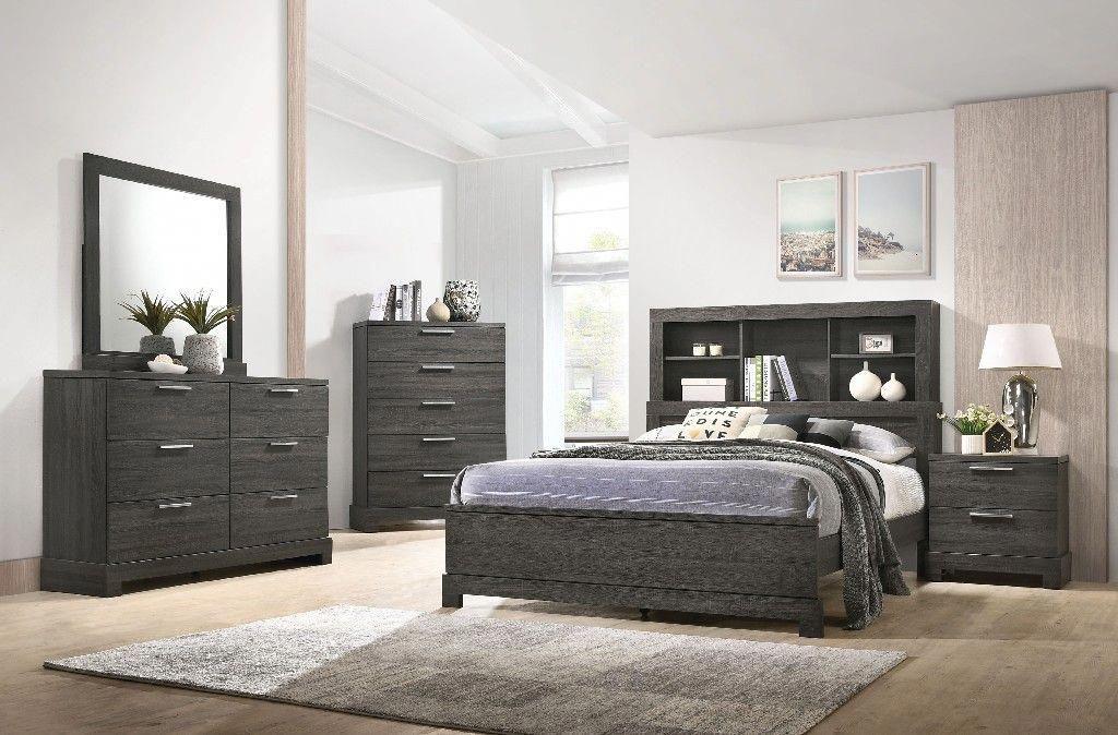 Lantha Queen Bed in Gray Oak Acme Furniture 22030Q