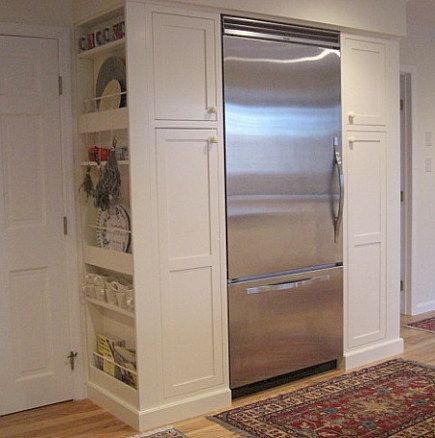 Pantry Cabinets On Either Side Of Refrigerator That Are Built As Deep As A Regular Refrigerator Shallow Ope Pantry Cupboard Pantry Cabinet Kitchen Wall Tiles