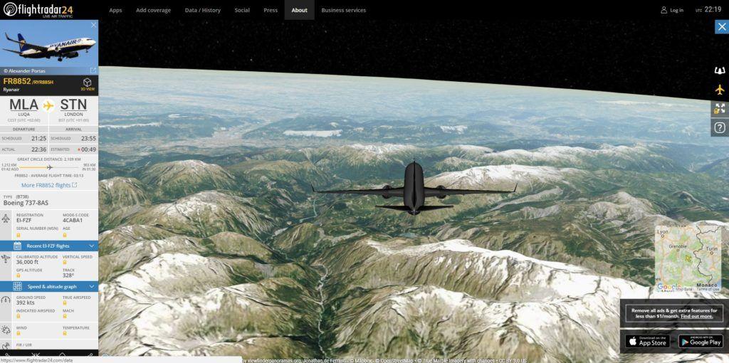 Flight Radar 24 Vista 3d Trafico Aereo Leonardo Da Vinci Pinceles