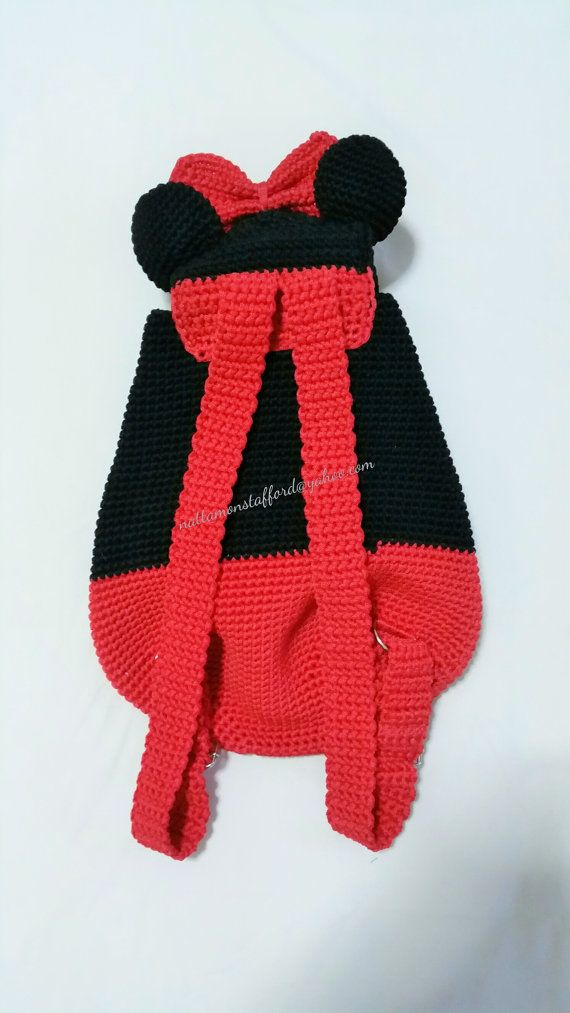 Nylon Minnie Mouse Backpack Handmade Crochet Backpack Birthday Gift