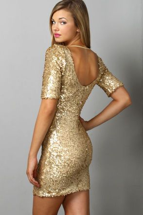Gina Sequin Sleeve Dress - Oneness - Gold - Party dresses ...
