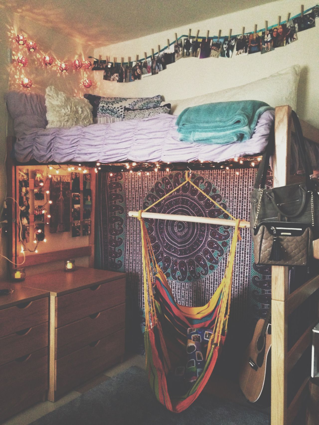 Lofted Dorm Bed With Hammock Swing