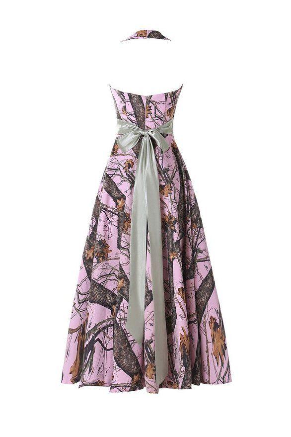 Ivydressing Fancy Halter Hi Lo Camouflage Cocktail Dresses Long Prom