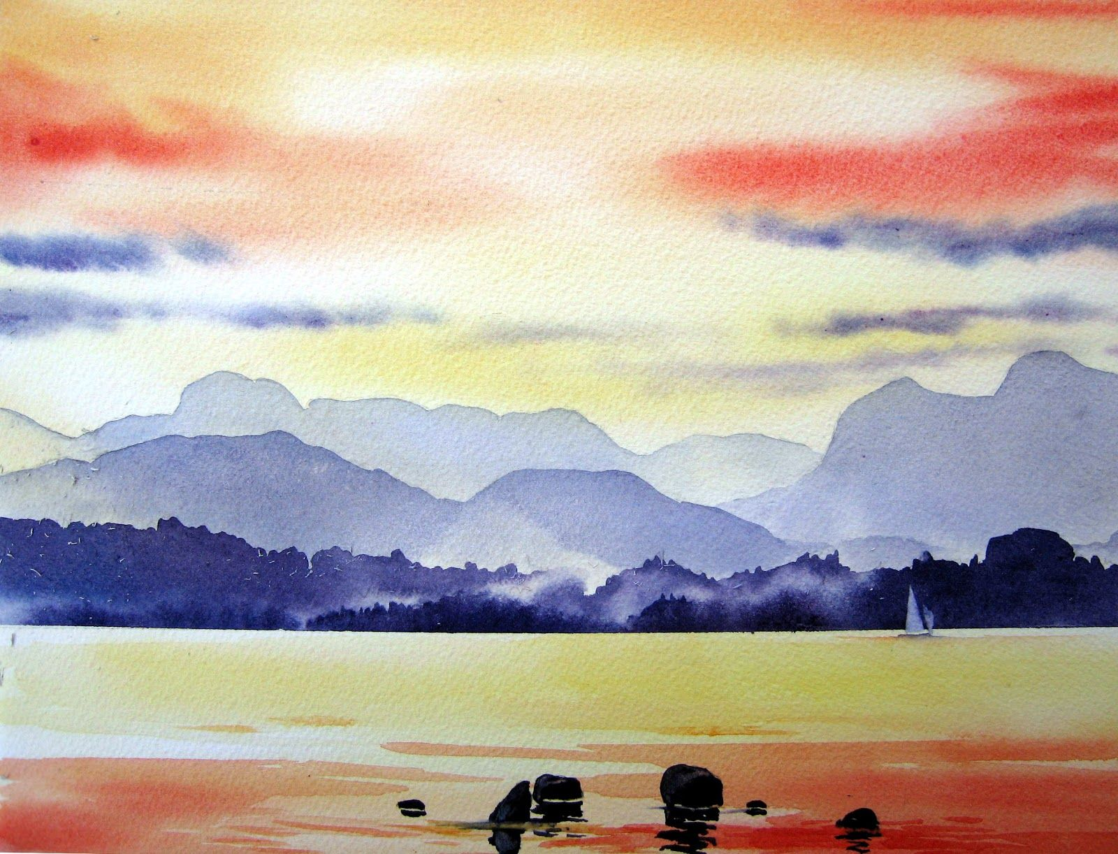 Easy watercolor landscape paintings for beginners art for How to watercolor for beginners
