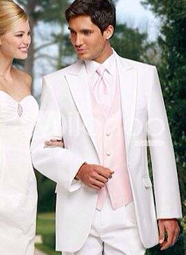 White tux and soft pink