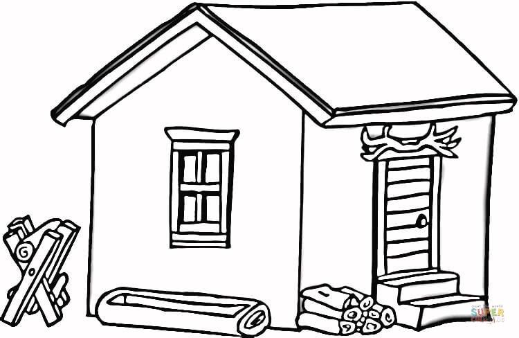 Click the Log Cabin in Wood coloring pages to view ...