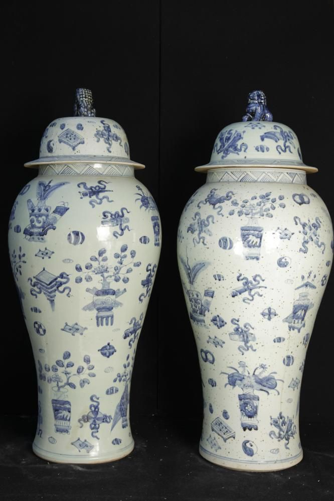 Big Pair Blue And White Chinese Ming Porcelain Amphora Lidded Urns