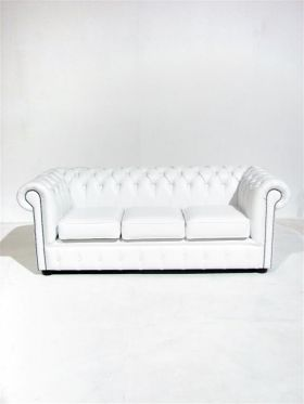 Event Prop Hire: White Chesterfield Sofa Three Seater