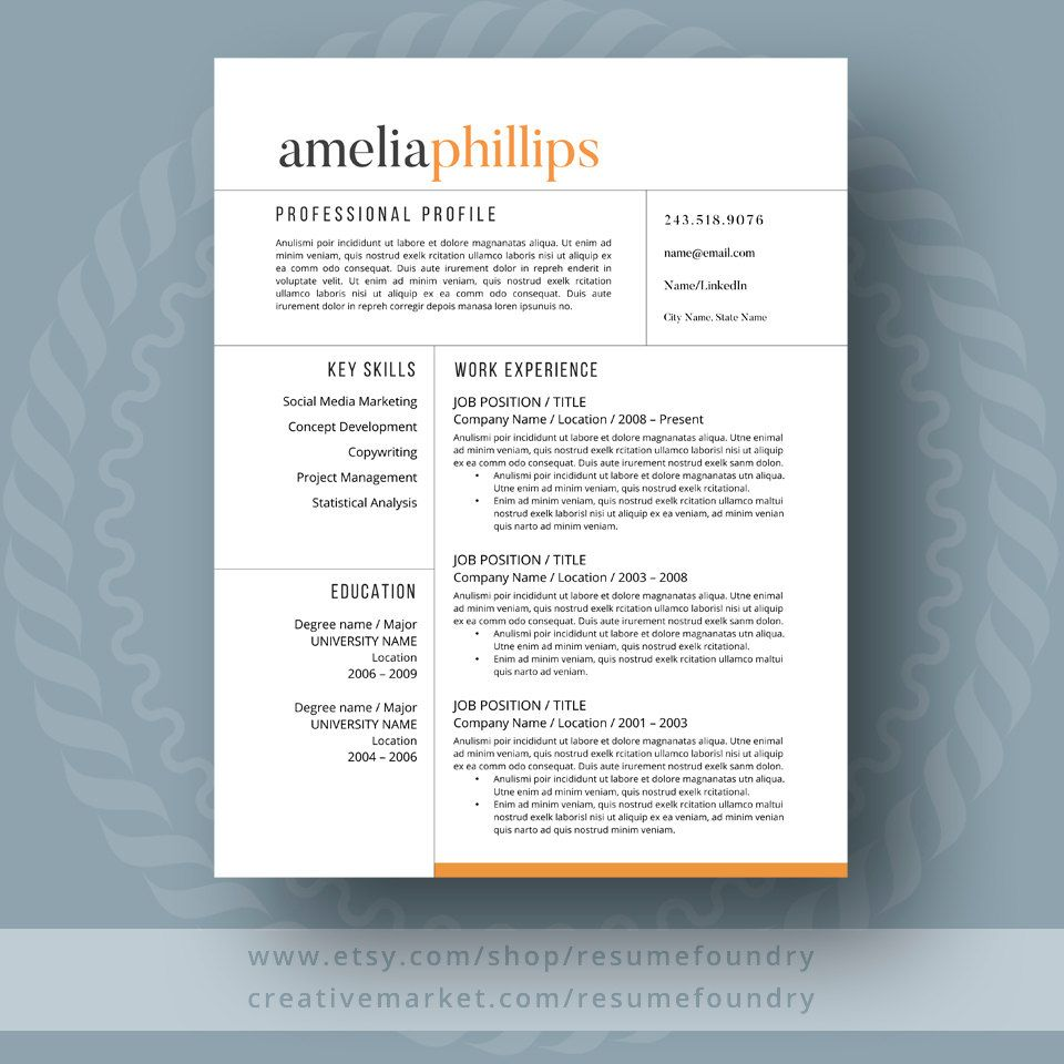 Modern Resume Template The Amelia  Job Search