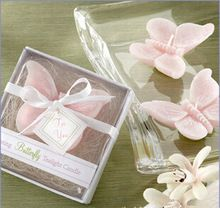 10 unids/lote vela rosada mariposa del banquete de boda nupcial wedding shower favor regalo(China (Mainland))