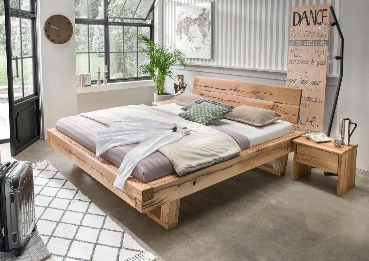 Bett »Ultima«, aus massivem Holz in Balken-Optik, in