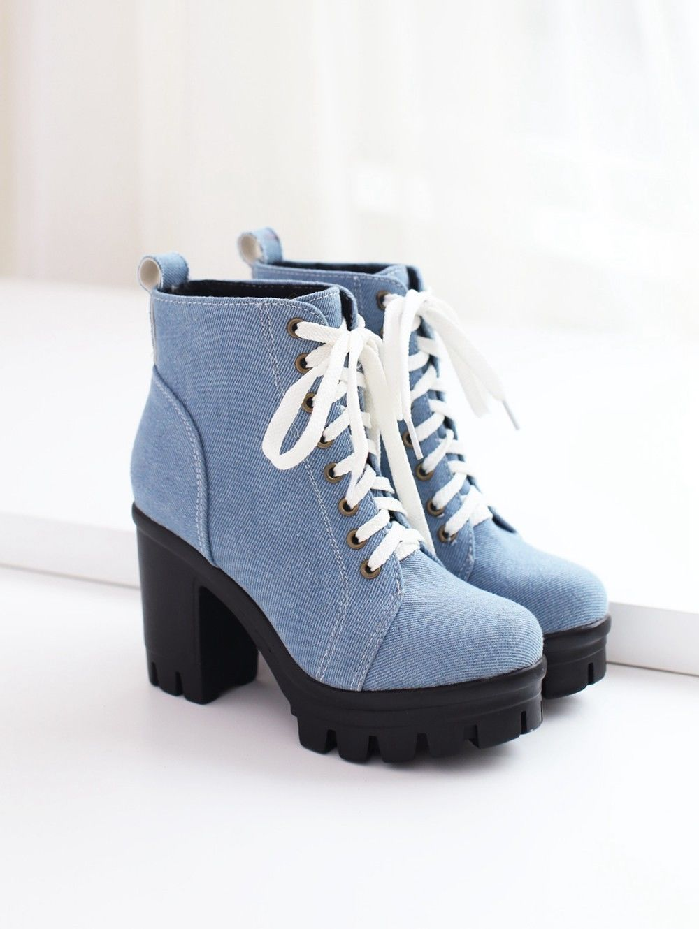 High Block Heel Ankle Boots Shoes