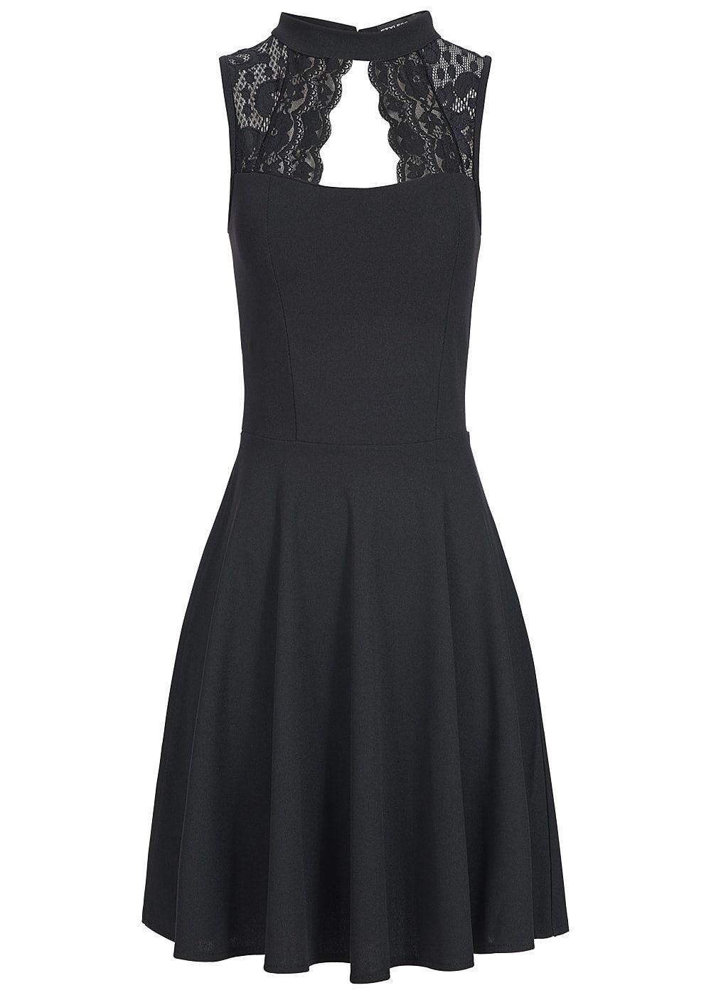 Styleboom Fashion Damen Kleid Spitze oben Brustpads schwarz