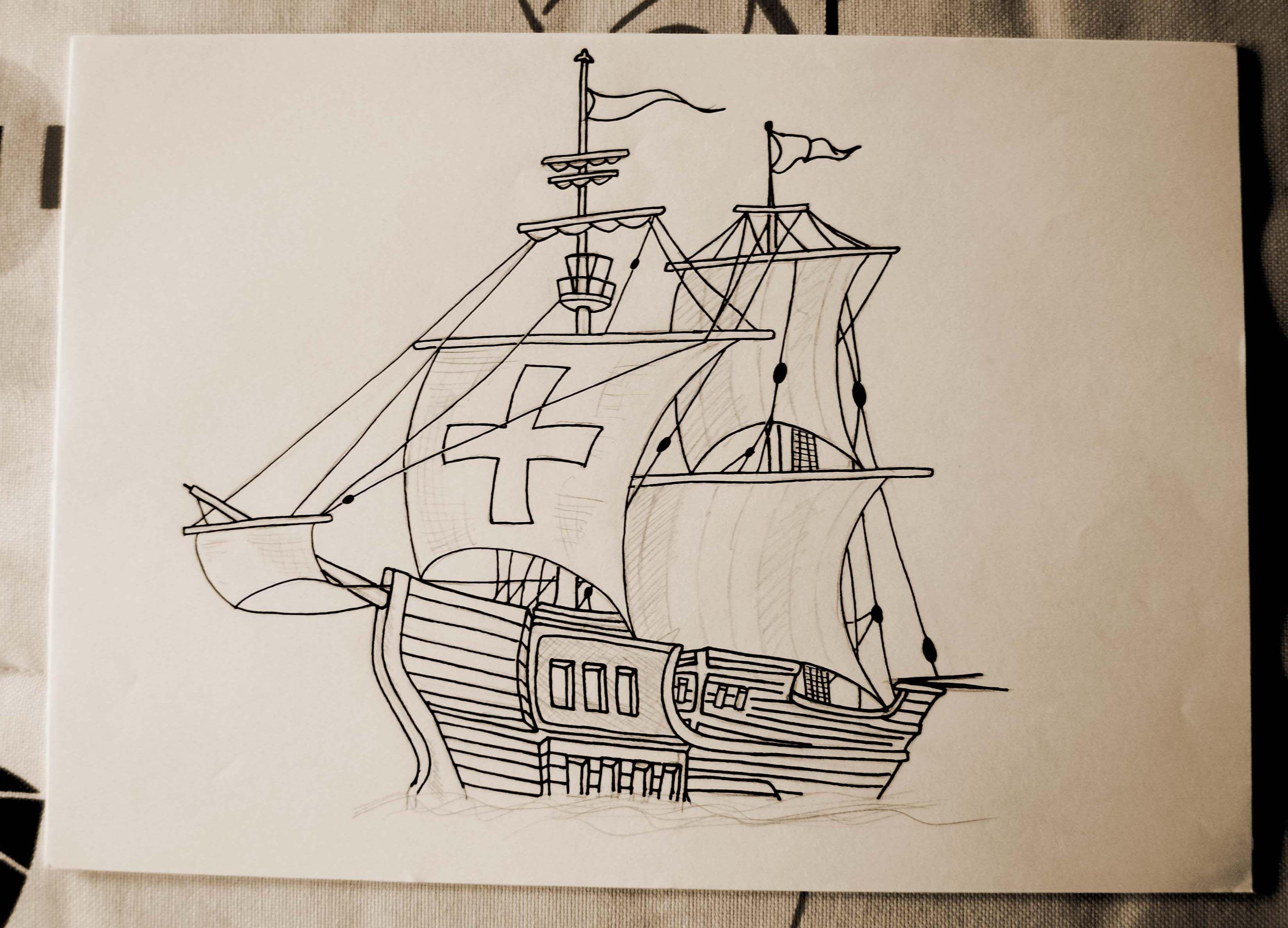 Carabela Ii Caravel Ii Dibujo De Una Carabela Ilustracion De Barcos Y Piratas A Lapiz Y Estilografica Drawing Of A Caravel Illustr Drawings Painting Art