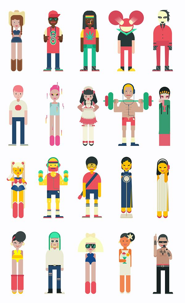 Character Design Icon : Character design for music app by qian hao via behance