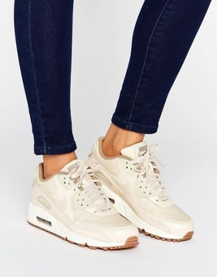 Nike Air Max 90 Premium Sneakers In Oatmeal at asos.com | Giftry