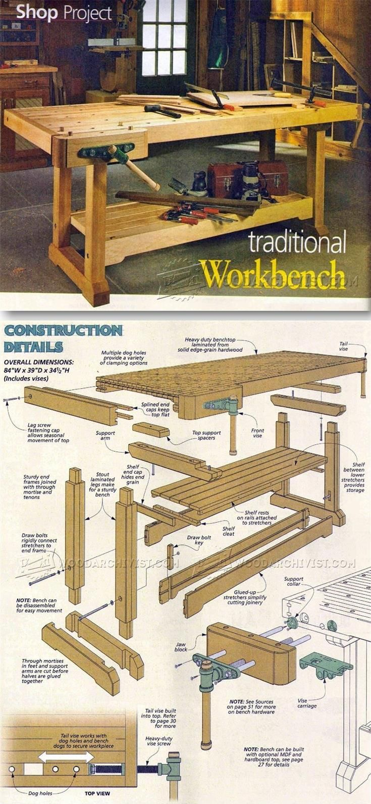 Plan D Etabli Bois traditional workbench plans - workshop solutions projects