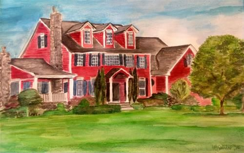 """Daily Paintworks - """"Margarets House"""" - Original Fine Art for Sale - © Nicole Saunders"""