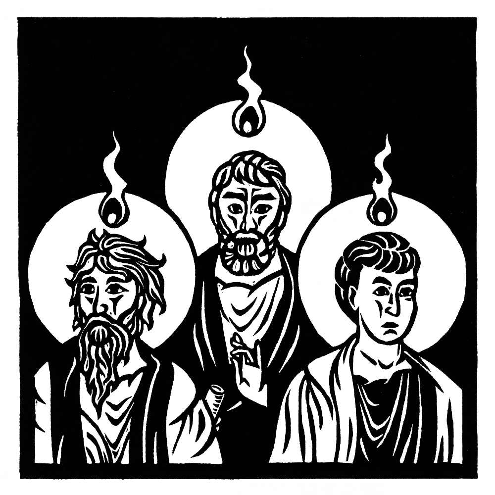 Tongues of fire appear over the apostles' heads. The Last ...