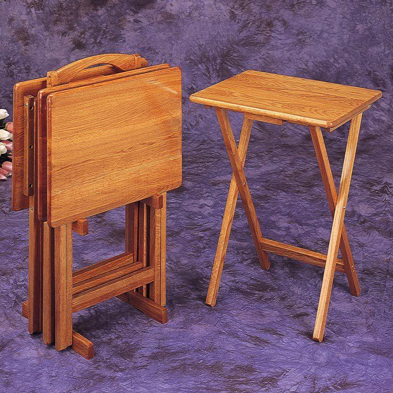 Coaster Company of America Wood TV Trays - Set of 4 - | tv trays ...