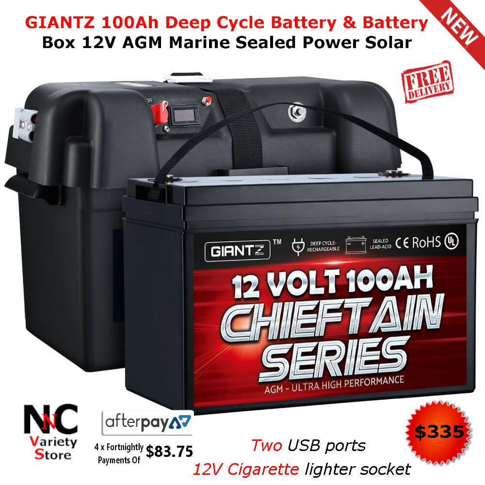 Giantz 100ah Deep Cycle Battery Battery Box 12v Agm Marine Sealed Power Solar Deep Cycle Battery Storage Life Cycle
