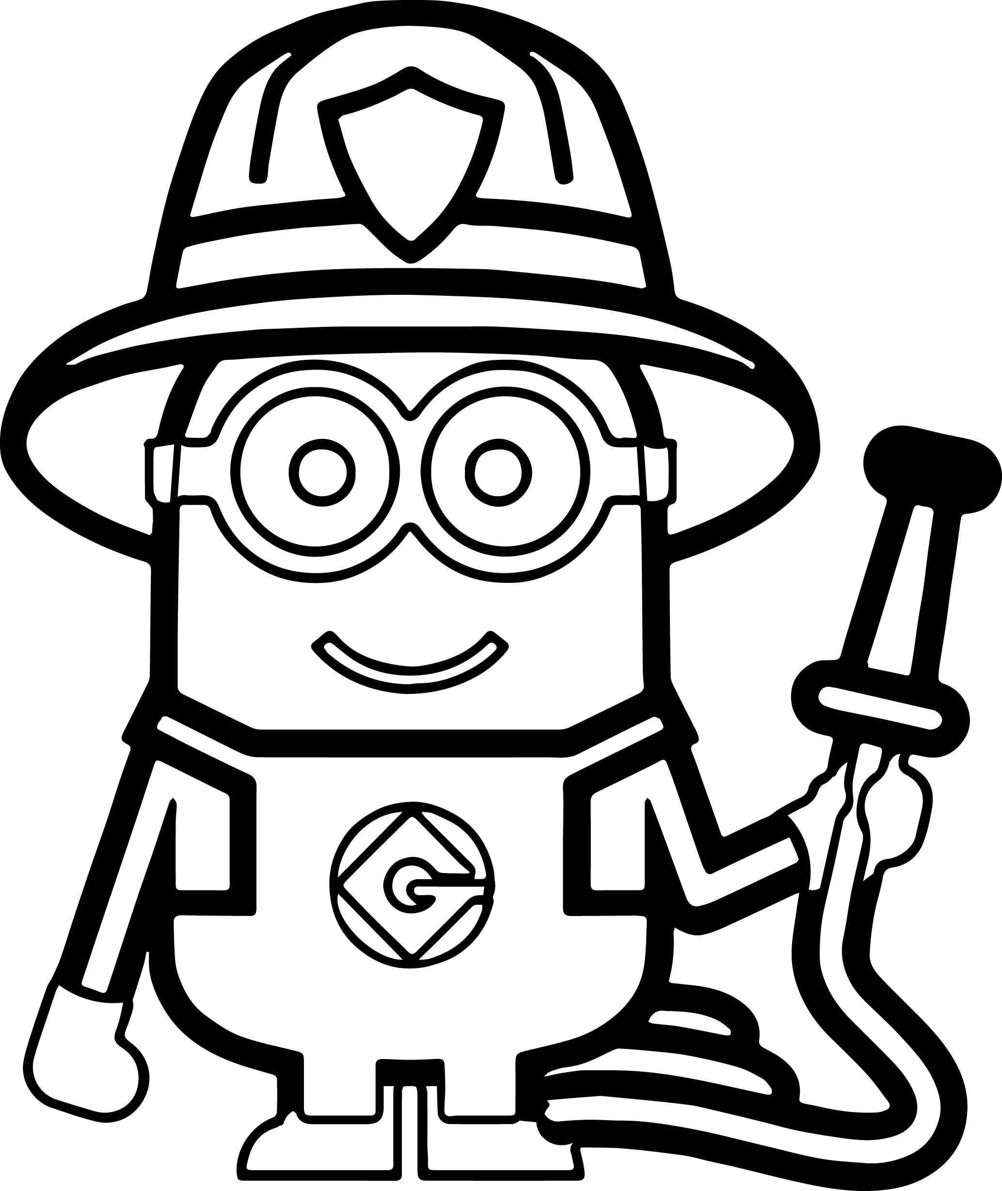 Minions Fireman Coloring Page   Minion coloring pages ...