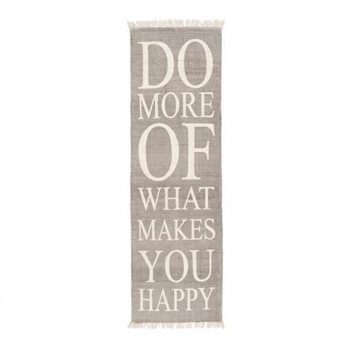 """Do more of what makes you happy."" Origineller hellgrauer Läufer. #impressionen #living"
