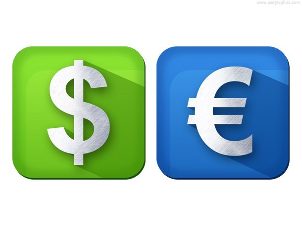 Dollar And Euro Currency Icons Free Psd Httppsdgraphics