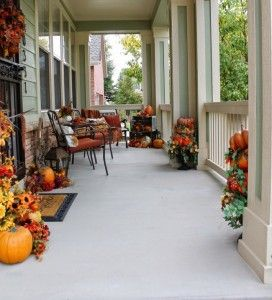 Fall Front Porch LOTS of pumpkins
