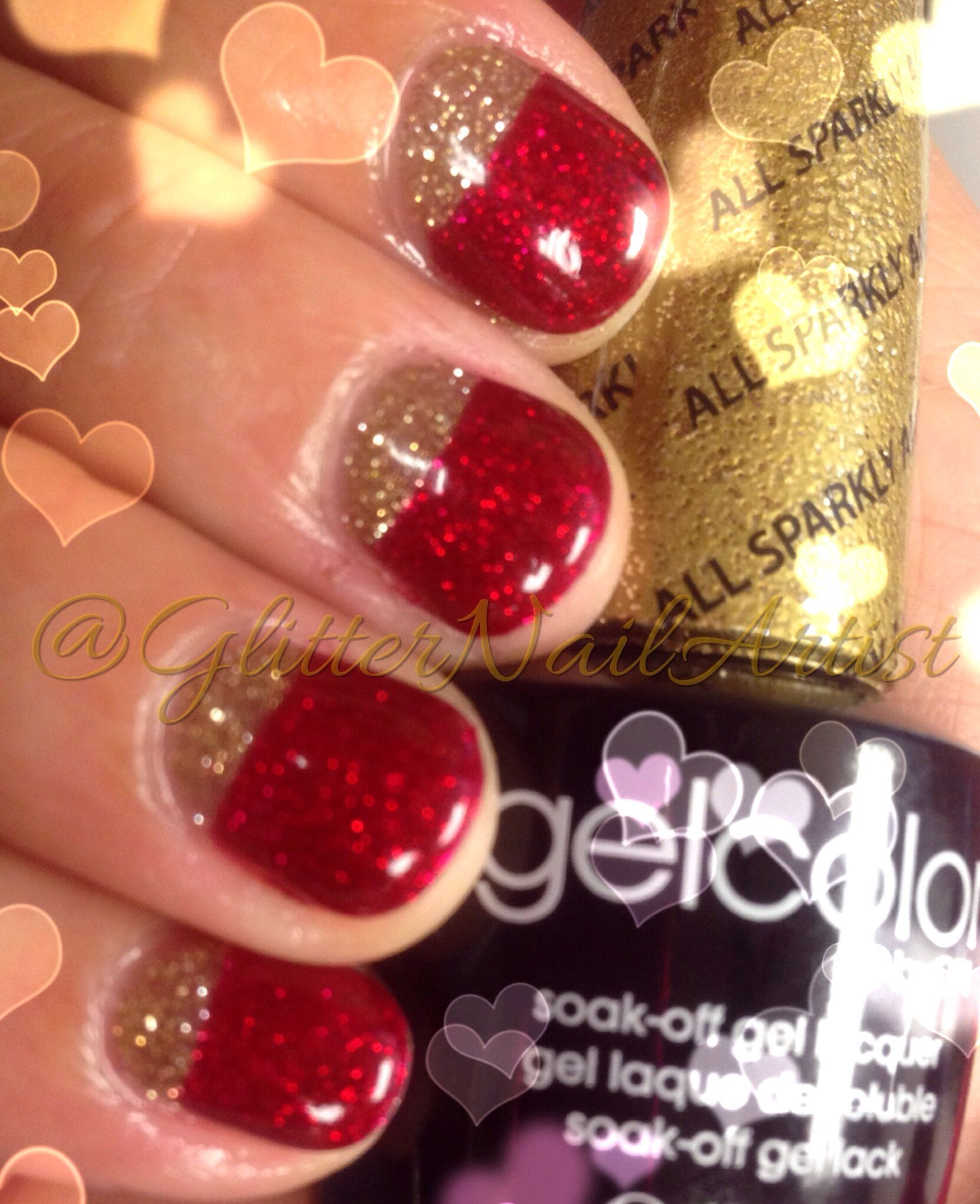 reverse french manicure | opi gelcolor: all sparkly & gold, gelish